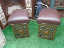 Antique Pair Fender Stools Arts And Crafts Hammered Copper Coal / Log Boxes .