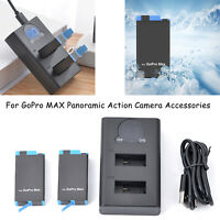 Large Capacity Camera Battery + Charger for GoPro MAX Panoramic Action Camera