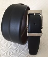 TM LEWIN BLACK/BROWN 1 Inch REVERSIBLE SUIT BELT SIZE 34 BRAND NEW WITHOUT TAGS