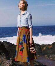 NEW Anthropologie Betta A-Line Skirt Size 10 Fish Cotton Midi