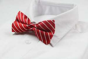 Mens Red With White Diagonal Stripe Patterned Bow Tie