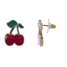 Lux Accessories Gold Tone Red Green Cherry Fruit Post Stud Earring