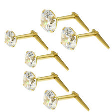 9CT GOLD ANDRALOK CZ STUDS EARRINGS WHITE CUBIC ZIRCONIA CRYSTAL BALL 3 3.5 5MM