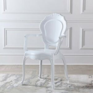 NICHES White Gloss French Style V2 Dressing Room Dining Arm Chair Louis Chair