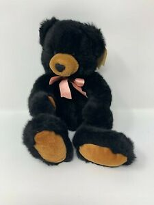 """Russ 13"""" Bears From The Past Inkspot Black Bear w/ Pink Bow NOS #27"""