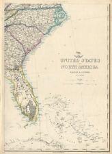 USA SOUTH EAST. Florida Georgia Carolina coast Bahamas. ETTLING 1863 old map