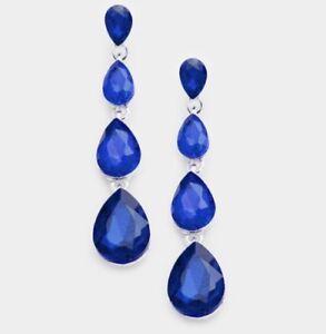 "2.3"" Long Silver Royal Blue Dangle Rhinestone Austrian Crystal Pageant Earrings"
