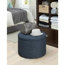 Convenience Concepts Designs4Comfort Round Shoe Ottoman, Blue Fabric - 161546FBE