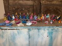 Polly Pocket Disney Princess MagiClip Magic Clip Lot 15 Dolls More 58 Piece LOT