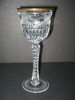"""Ebeling Reuss Crystal 8 Emperor Wine Hocks 8 1/4"""" Gold Trim Etched Elegant MINT"""