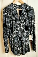 FREE PEOPLE Black & White Fit And Flare Mini Dress Or Tunic Women's Size L ~ NWT
