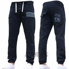 Mens AD DESIGNER Stretch Cuffed Jogger Jeans Chinos Pants Waist Size 28-48 Navy 44 In. 32l