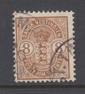 Danish West Indies Sc 30 Arms 6 Cents Brown F/VF Used