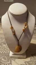 Natural Stone Knotted  Cord Necklace