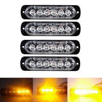 4X Car Truck 6 LED Strobe Light Flash Emergency Hazard Warning Amber Lamp 18W