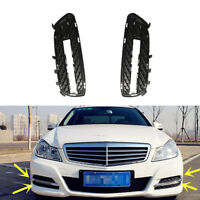 L&R Front Bumper Grille DRL Fog Light Cover For Mercedes E-Class W212 2009-2013
