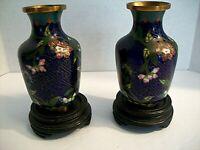 "Pair of Vintage Chinese Brass & Enamel Floral Cloisonne 4"" Vases  3/4"" Pedestals"
