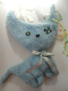 baby blue cat kitten cute faux furry shoulder bag  with zip clubwear