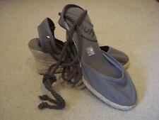 BNWOT Schuh grey canvas tie ankle wedges UK 7/40