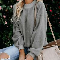 Loose Crew Neck Pullover Womens Top Long Sleeve T-Shirt Casual Ladies Shirt