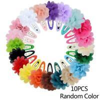 10Pcs Chiffon Flower Girls Baby Hair Clips Hairpins Child Headwear Barrette E7S3
