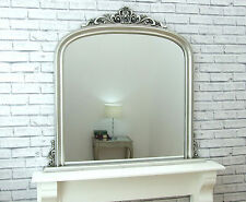 "Dayton Large Antique Silver Ornate Arched Overmantle Wall Mirror 43"" x 41"""