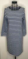 Ladies BODEN Blue and White Striped Nautical Tunic Cotton Dress UK 10