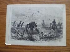 1867 Engraving-Prairie Chicken Shooting In Kansas-Dogs-Horses