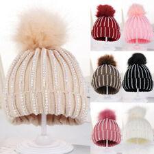 Toddler Kids Baby Knitting Wool Hemming Hat Winter Warm Hiarball Fur Ball Cap US