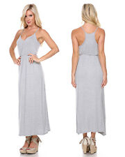 Women V Neck Casual Summer Cocktail Party Long Maxi Beach Grey LARGE Dress