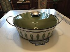 Cathrineholm Large Lotus Casserole-White And Avocado Green.