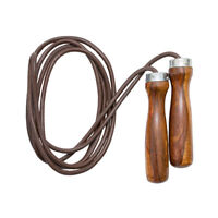 Skipping Rope Leather Speed Fitness Exercise Gym Jumping Training Wooden Handle