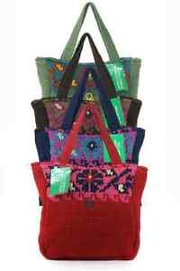 Benetton London Borsa woven fabric contrast women's handbag.