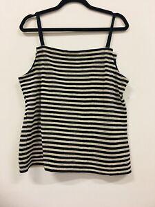 MODA CAPRESE Striped Wool Knit Tank / Singlet Ladies Med 10 -12 Made in Italy