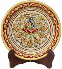 Handicrafts Peacock Pattern Round Marble Showpiece Plate with Stand Multicolor