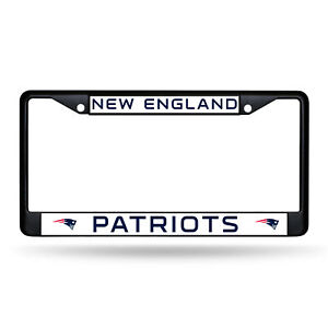 New England Patriots Metal License Plate Black Frame