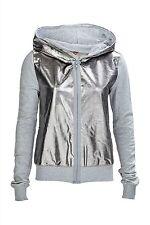 Unifarbene Damen-Kapuzenpullover mit Reißverschluss