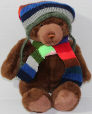 Vintage 2000 GUND LORD & TAYLOR BROWN TEDDY BEAR Scarf Beanie STUFFED PLUSH Toy