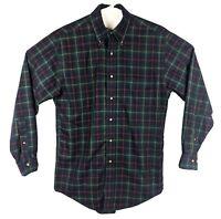 Brooks Brothers 346 Mens Plaid Shirt Sz S Small/Medium Western Green Black L/S