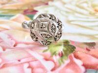 VINTAGE ART DECO MARCASITE STUDDED ROSE FLOWER COSTUME RING - ADJUSTABLE SIZE 7