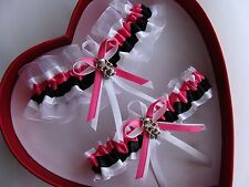 NEW Wedding Garter Hot Pink Black White Prom GetTheGoodStuff Skull w/ Rose