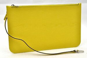 Authentic Louis Vuitton Epi Neverfull Pouch Purse Clutch Yellow LV 98511