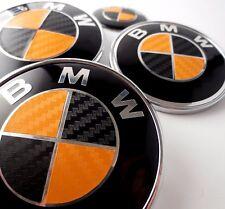 BLACK & ORANGE CARBON FIBER Complete Set Vinyl Sticker Overlay All BMW Emblems