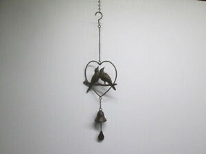 Hanging Cast Iron Love Birds Heart Bell Wind Chime Old Rustic Garden