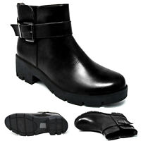 Womens Ladies Chelsea Boots Chunky Block Heel Punk Goth Zip Ankle Shoes Size 3-8