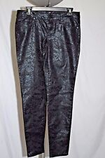 Bisou Bisou Women's Shiny Black Floral Embossed Jeans Size 8