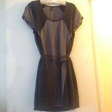 TOPSHOP Black/Grey SILK DRESS 10