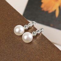 Fashion New Rhinestone Pearl Earrings Women Ear Stud