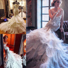 Feathers Mermaid Rhinestones Wedding Dress Crystals Backless Beads Bridal Gowns