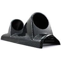 "52mm 2 1/16"" Car A-Pillar Pod Mount Double Gauge Holder Cup Carbon Fibre Effect"